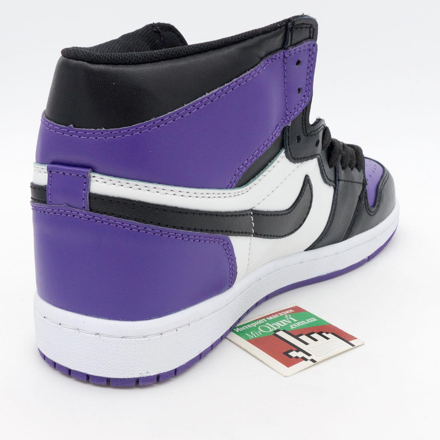 фото front Высокие черные c фиолетовым кроссовки Nike Air Jordan 1 . Топ качество! front