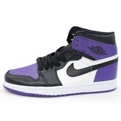 Высокие черные c фиолетовым кроссовки Nike Air Jordan 1 . Топ качество!