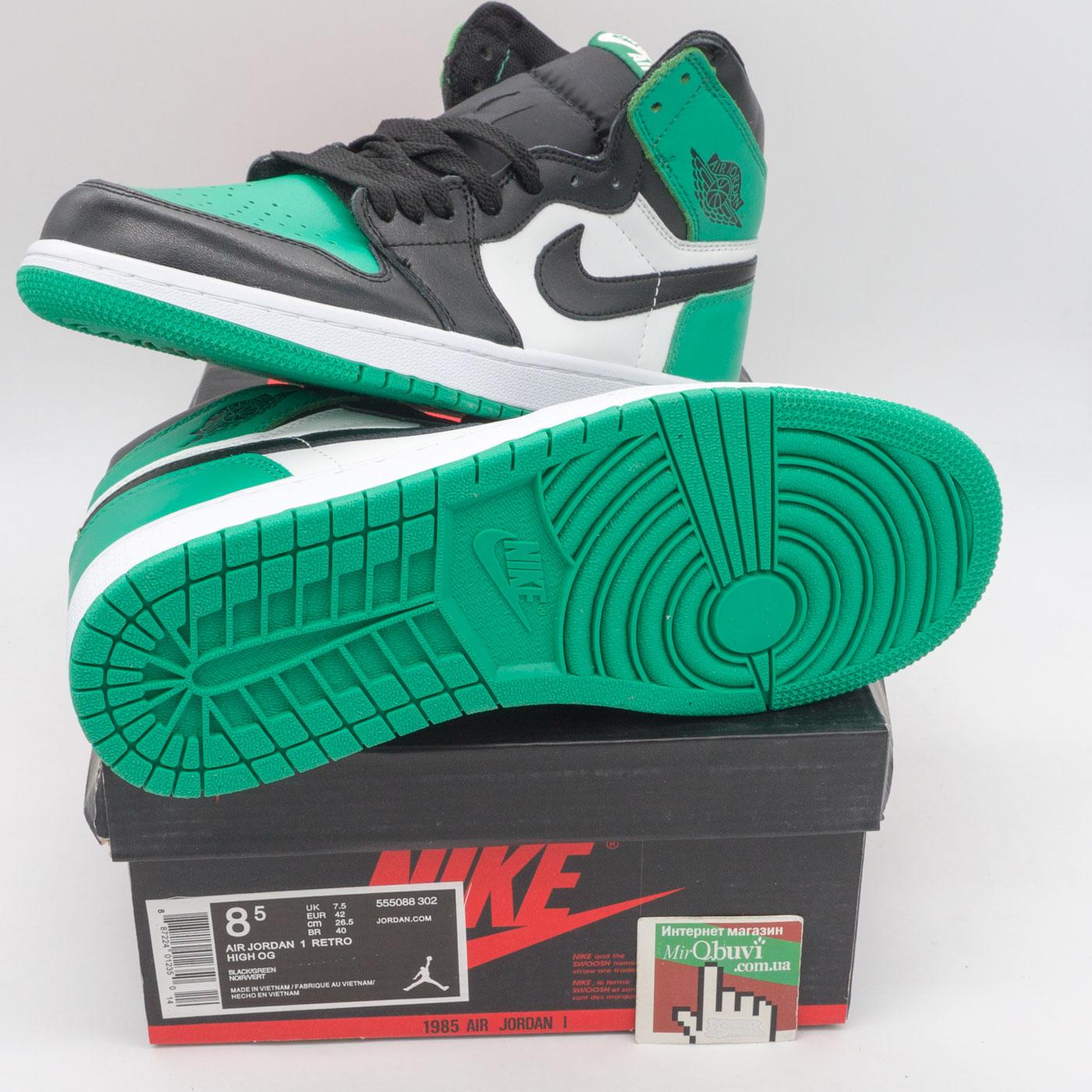 фото back Высокие черные c зеленым кроссовки Nike Air Jordan 1 . Топ качество! back