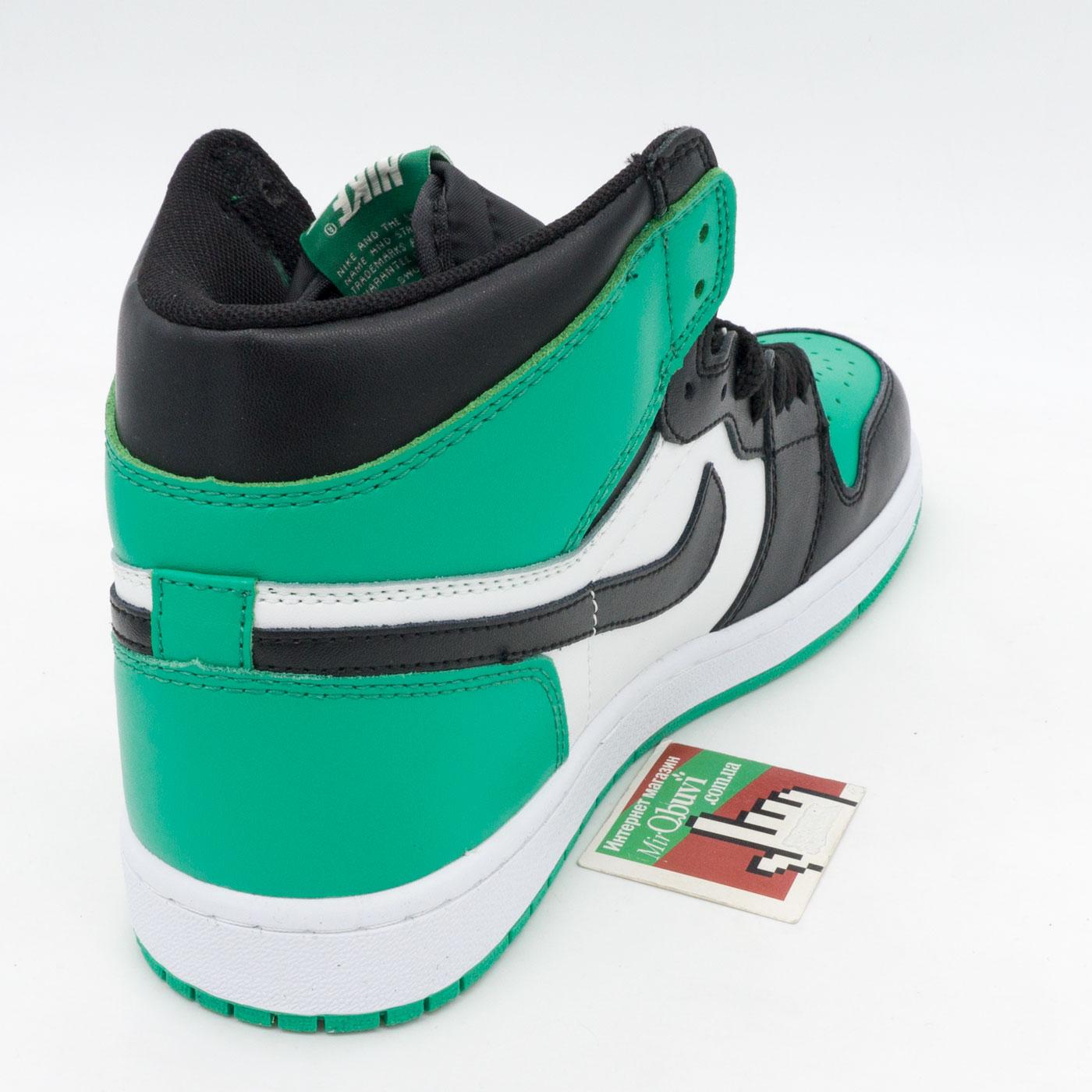 фото front Высокие черные c зеленым кроссовки Nike Air Jordan 1 . Топ качество! front