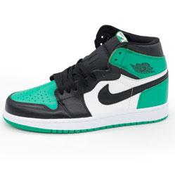 Высокие черные c зеленым кроссовки Nike Air Jordan 1 . Топ качество!