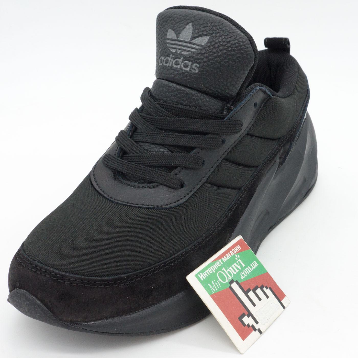 фото front Женские кроссовки Adidas Sharks полностью черно. Топ качество! front