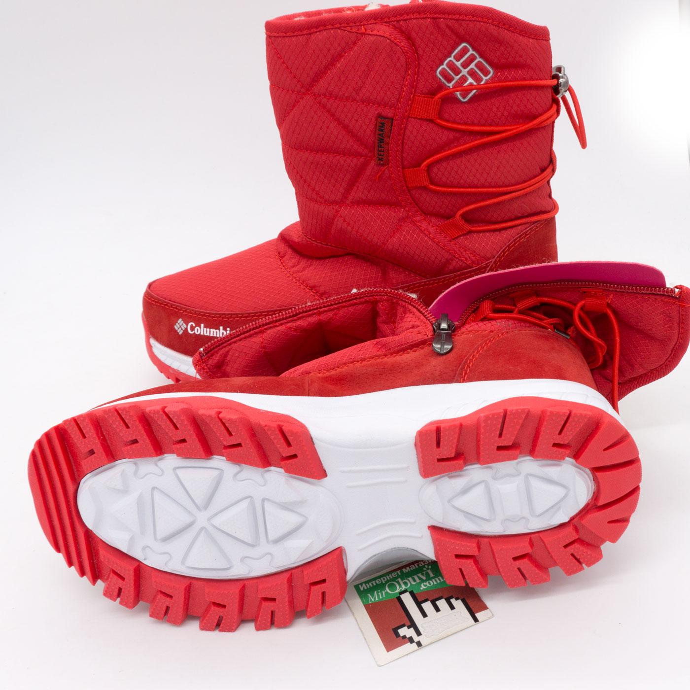фото front Зимние женские красные дутики с мехом Columbia front