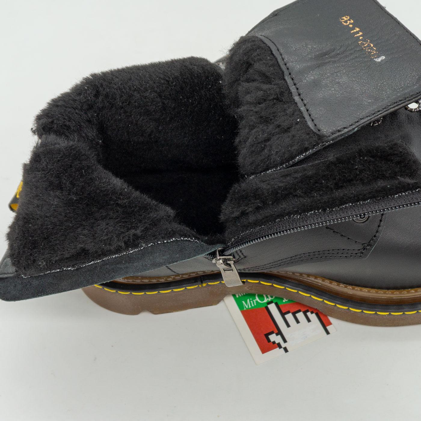 фото back Черные женские кожаные ботинки с мехом в стиле Dr. Martens back