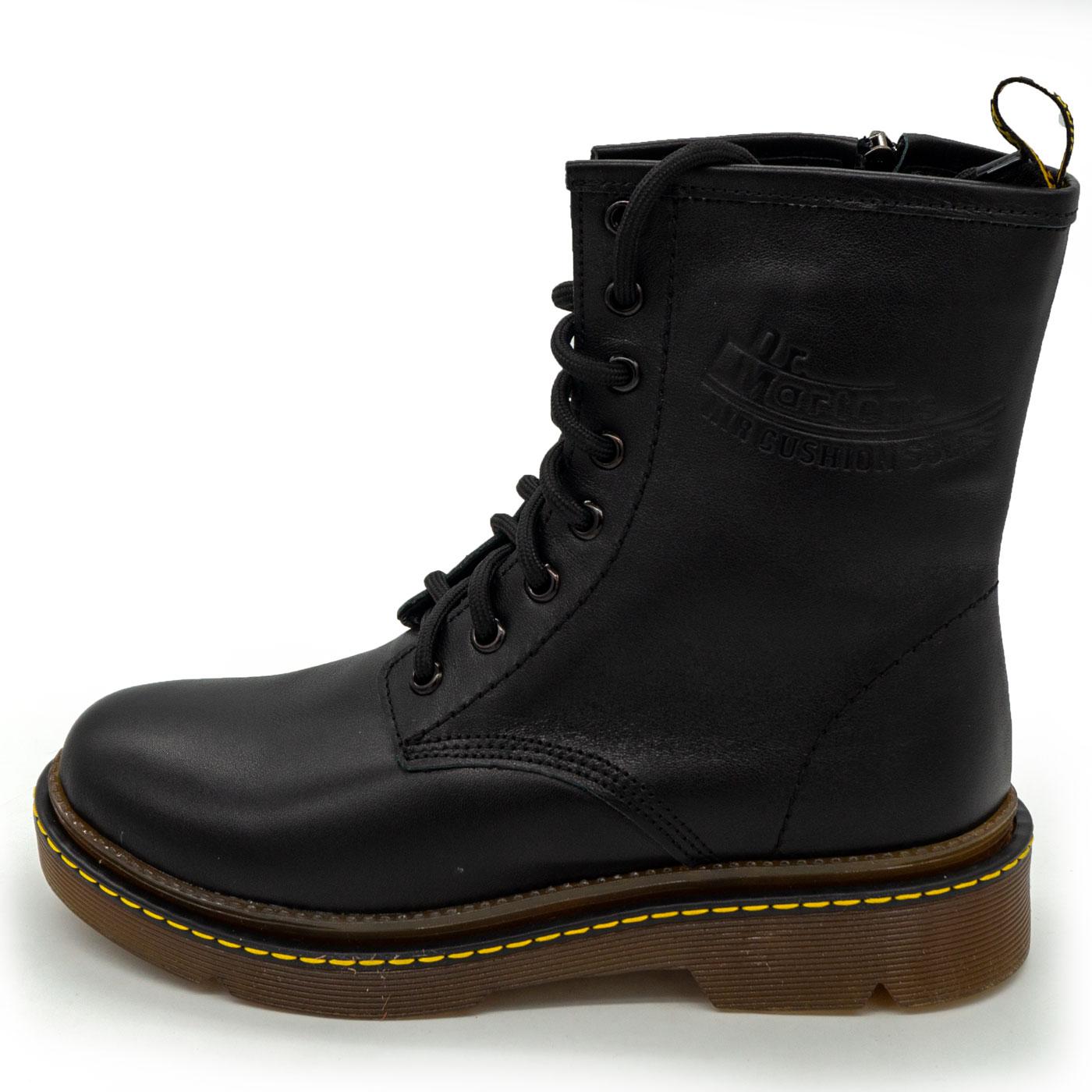 Черные женские кожаные ботинки с мехом в стиле Dr. Martens