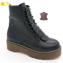 фото Черные женские кожаные ботинки с мехом на платформе в стиле Dr. Martens