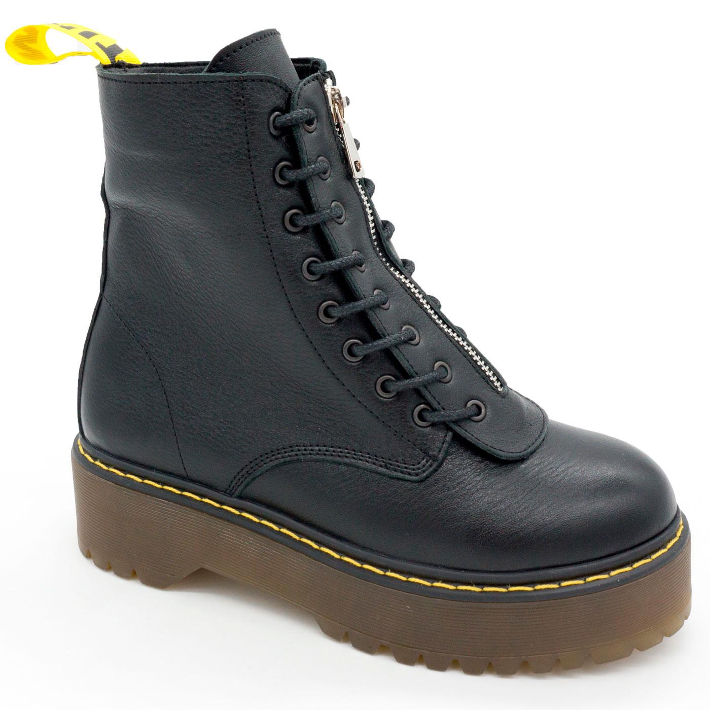 фото main Черные женские кожаные ботинки с мехом на платформе в стиле Dr. Martens main