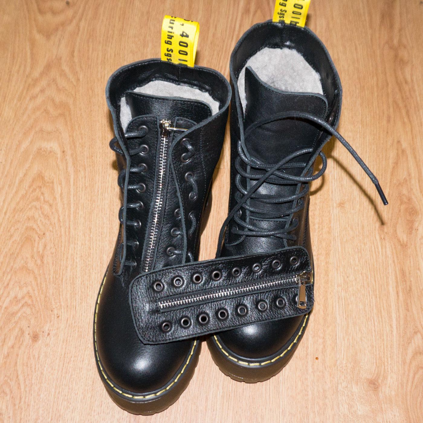 большое фото №5 Черные женские кожаные ботинки с мехом на платформе в стиле Dr. Martens
