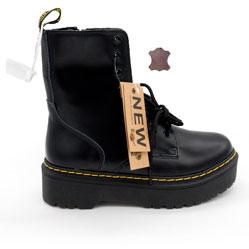 Черные женские ботинки в Dr. Martens на платформе, натуральная кожа - Топ качество!