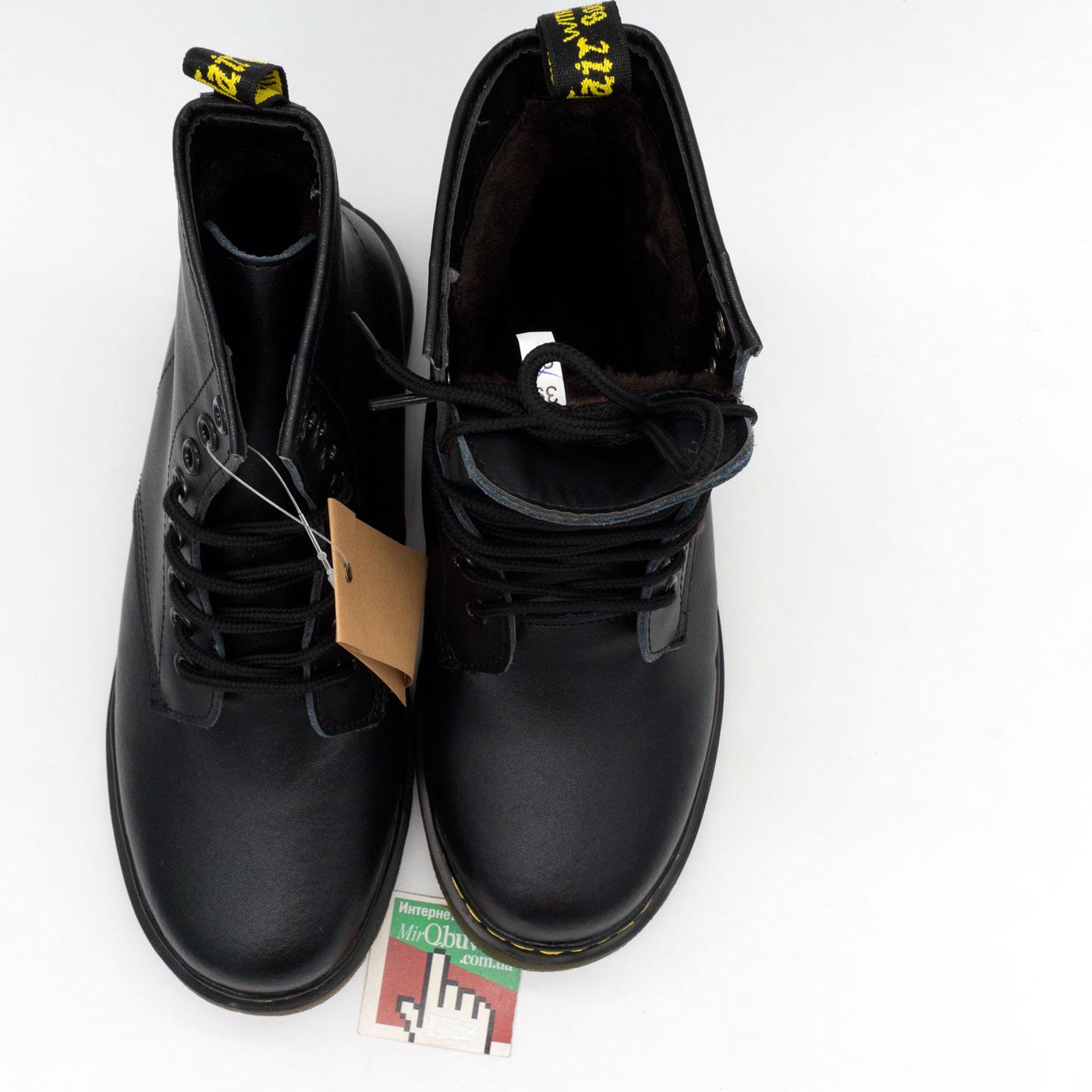 фото back Зимние Черные женские ботинки в Dr. Martens, натуральная гладкая кожа - Топ качество! back