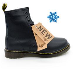 Зимние Черные женские ботинки в Dr. Martens, натуральная гладкая кожа - Топ качество!