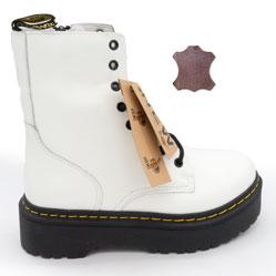 Белые женские ботинки в Dr. Martens на платформе, натуральная кожа - Топ качество!