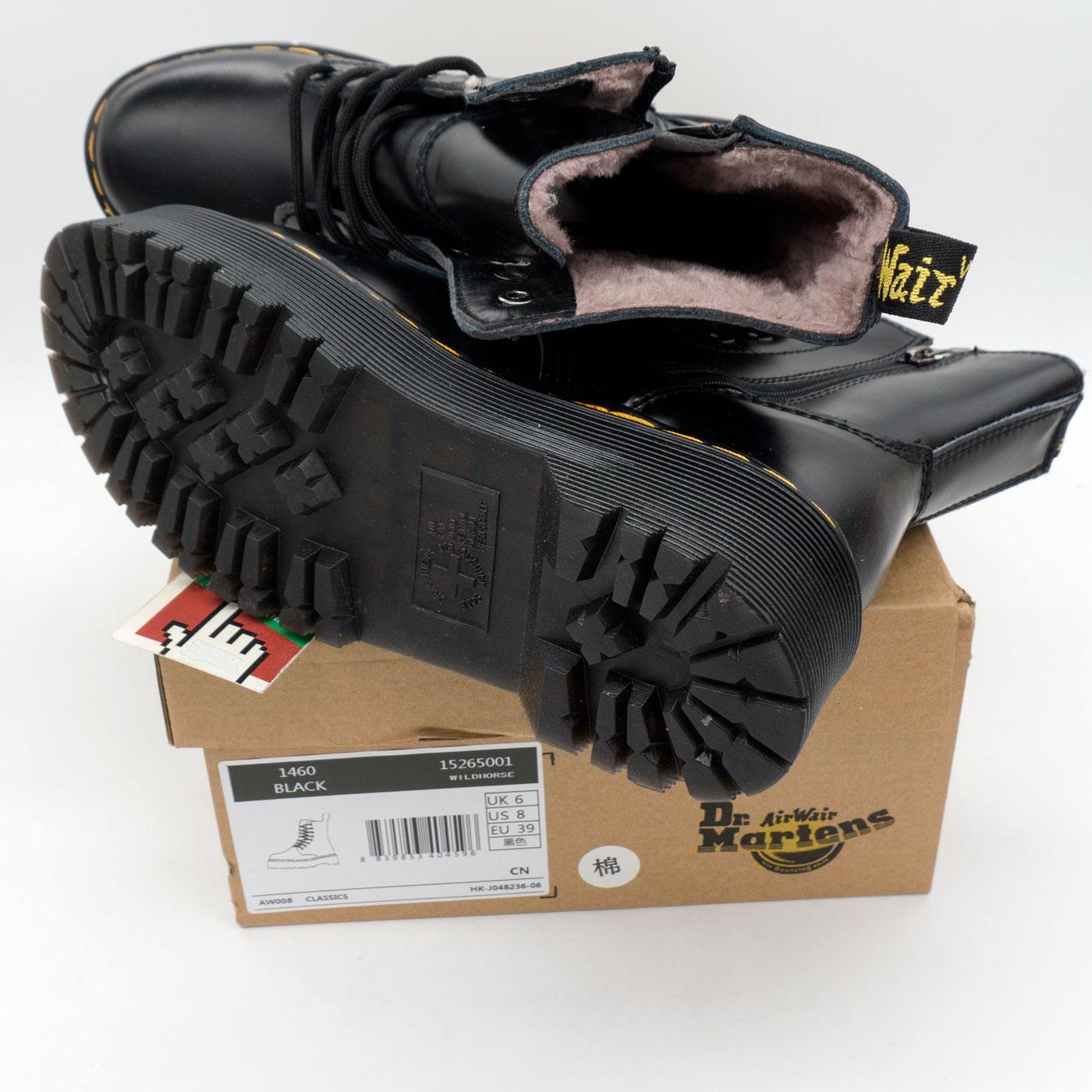фото back Зимние черные женские ботинки в Dr. Martens на платформе, натуральная гладкая кожа - Топ качество! back