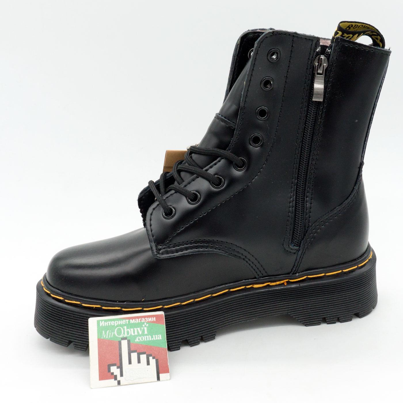 фото front Зимние черные женские ботинки в Dr. Martens на платформе, натуральная гладкая кожа - Топ качество! front
