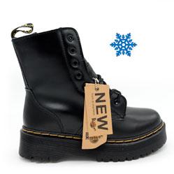 Зимние черные женские ботинки в Dr. Martens на платформе, натуральная гладкая кожа - Топ качество!