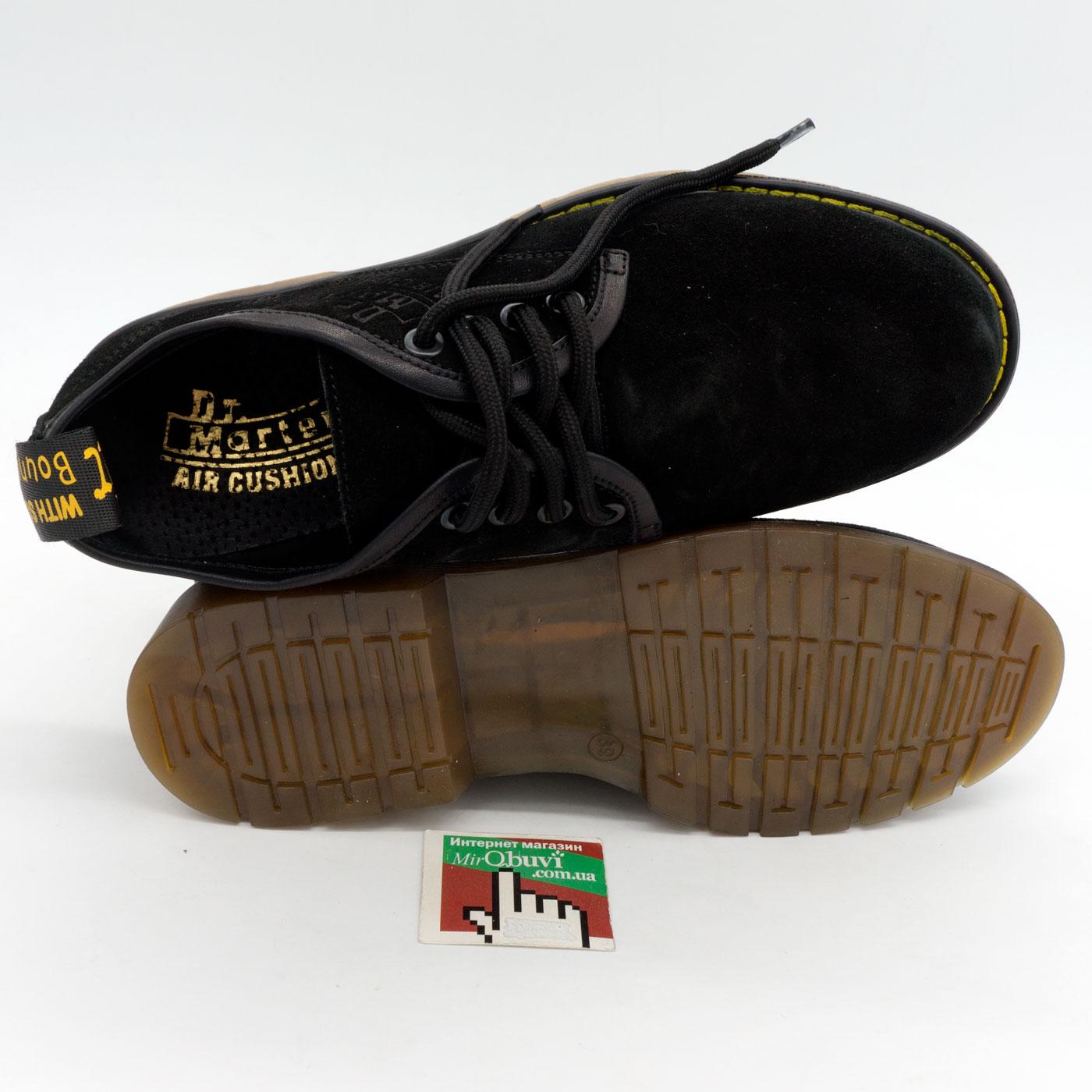 фото front Черные женские туфли Dr. Martens, натуральная замша front