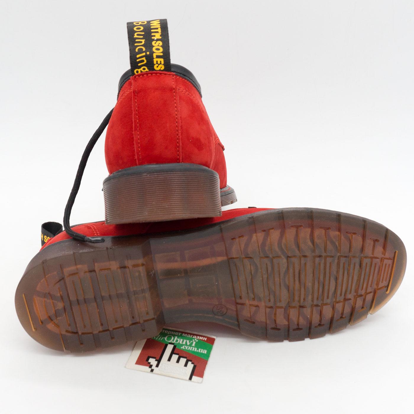 фото back Красные женские туфли Dr. Martens, натуральная замша back