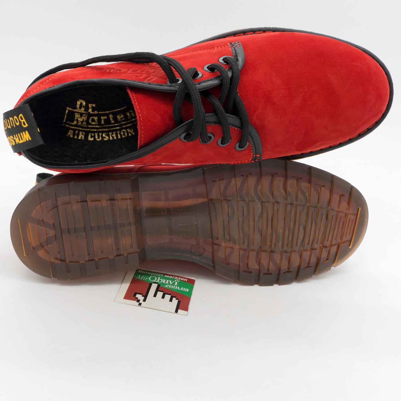 фото front Красные женские туфли Dr. Martens, натуральная замша front
