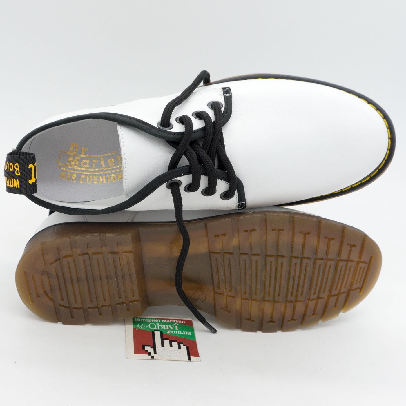 фото front Белые женские туфли Dr. Martens, натуральная кожа front