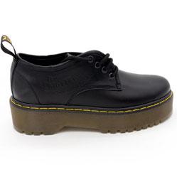 фото Черные женские туфли Dr. Martens на платформе, натуральная кожа