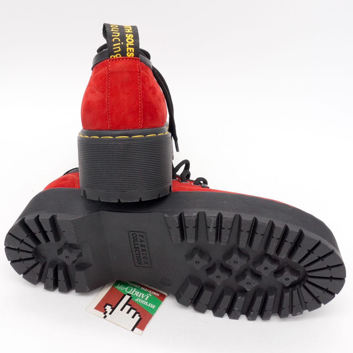 фото back Красные женские туфли Dr. Martens на платформе, натуральная замша back