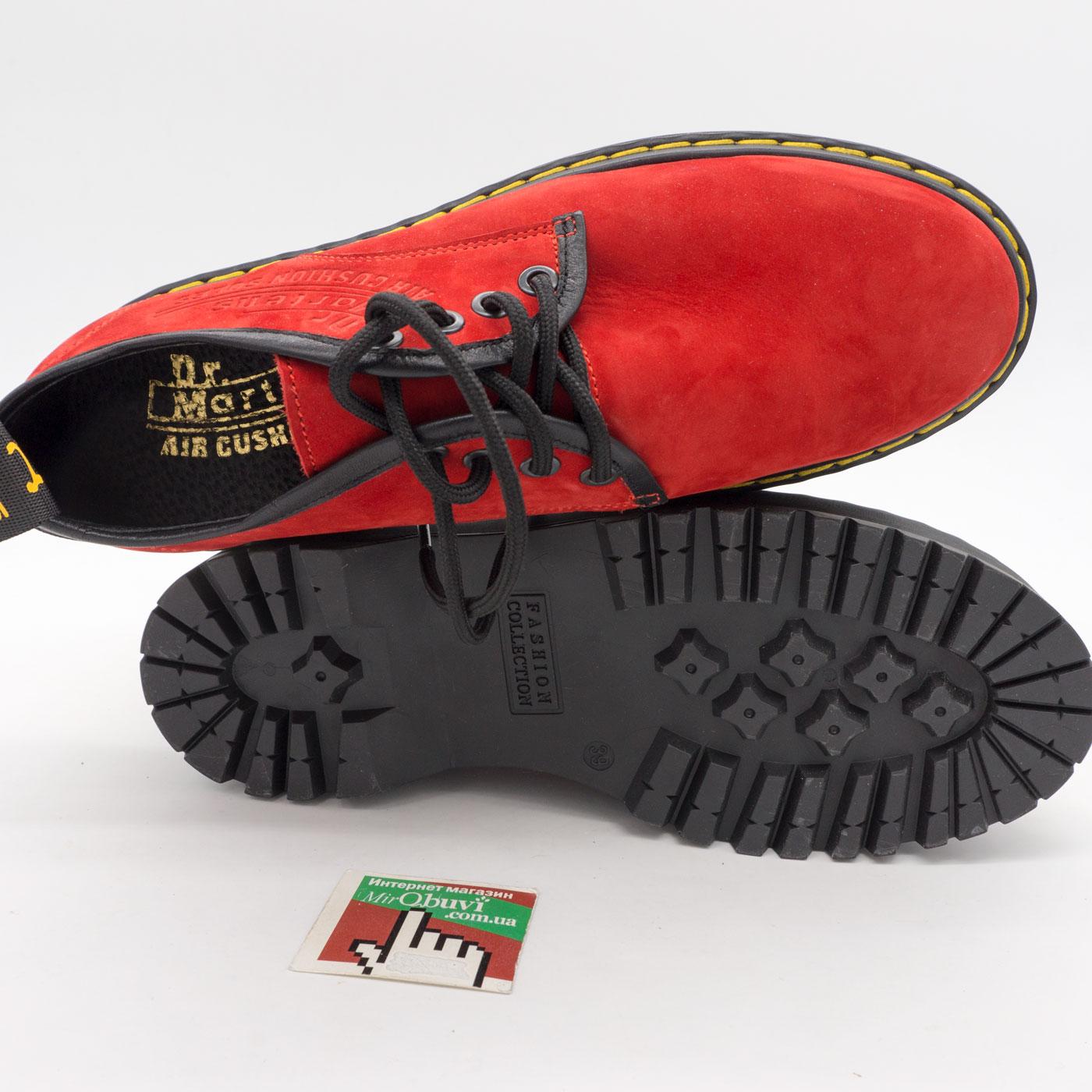 фото front Красные женские туфли Dr. Martens на платформе, натуральная замша front
