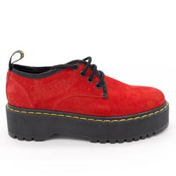 фото Красные женские туфли Dr. Martens на платформе, натуральная замша