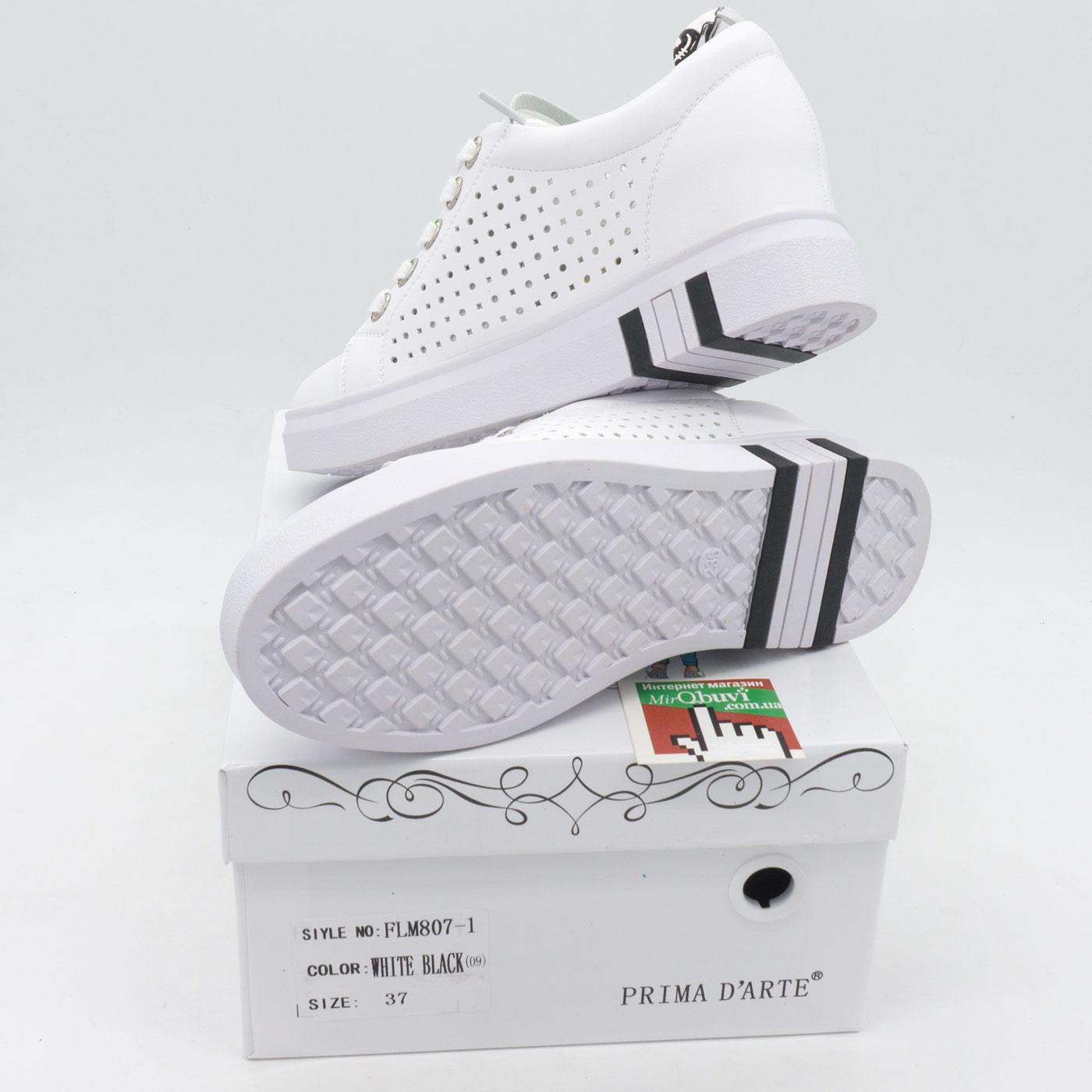 фото front Женские кроссовки Prima d'Arte FLM807-1 белые front