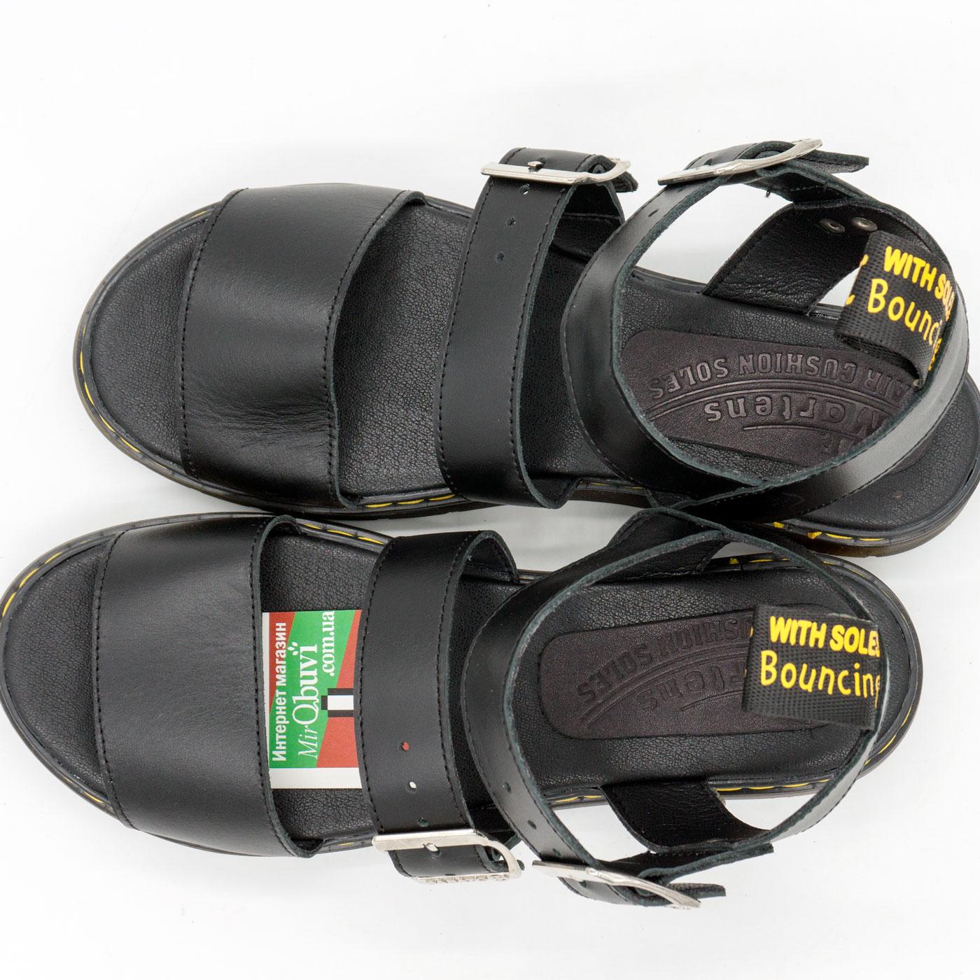 фото front Черные женские сандали Dr. Martens, натуральная кожа  front