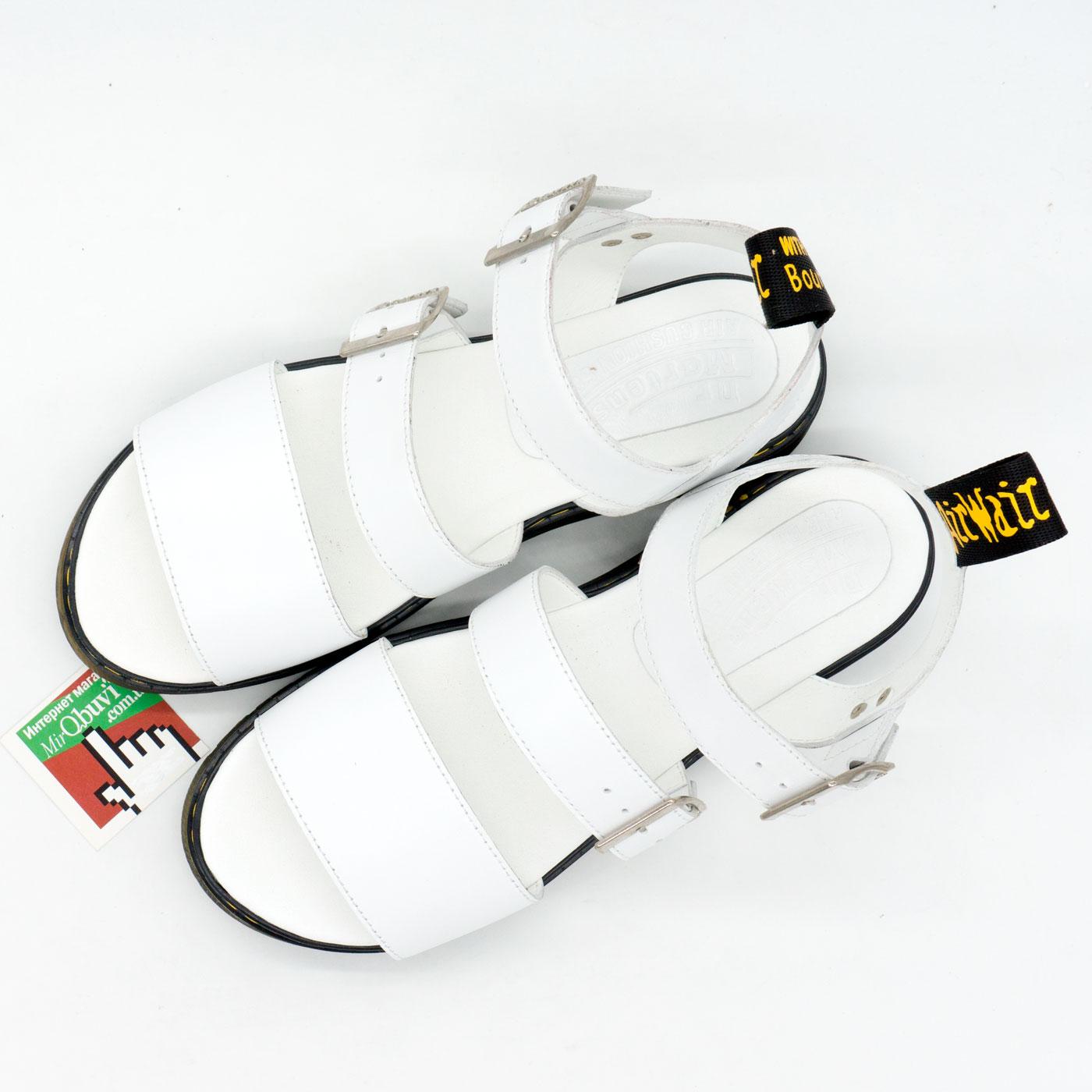 фото front Белые женские сандали Dr. Martens, натуральная кожа  front