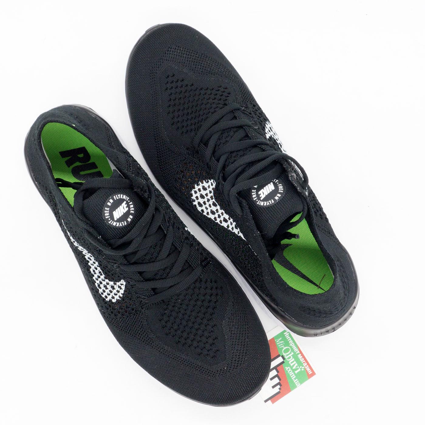 фото back Кроссовки для бега Nike Free Run Flyknit Найк Фри Ран, черно-белые back