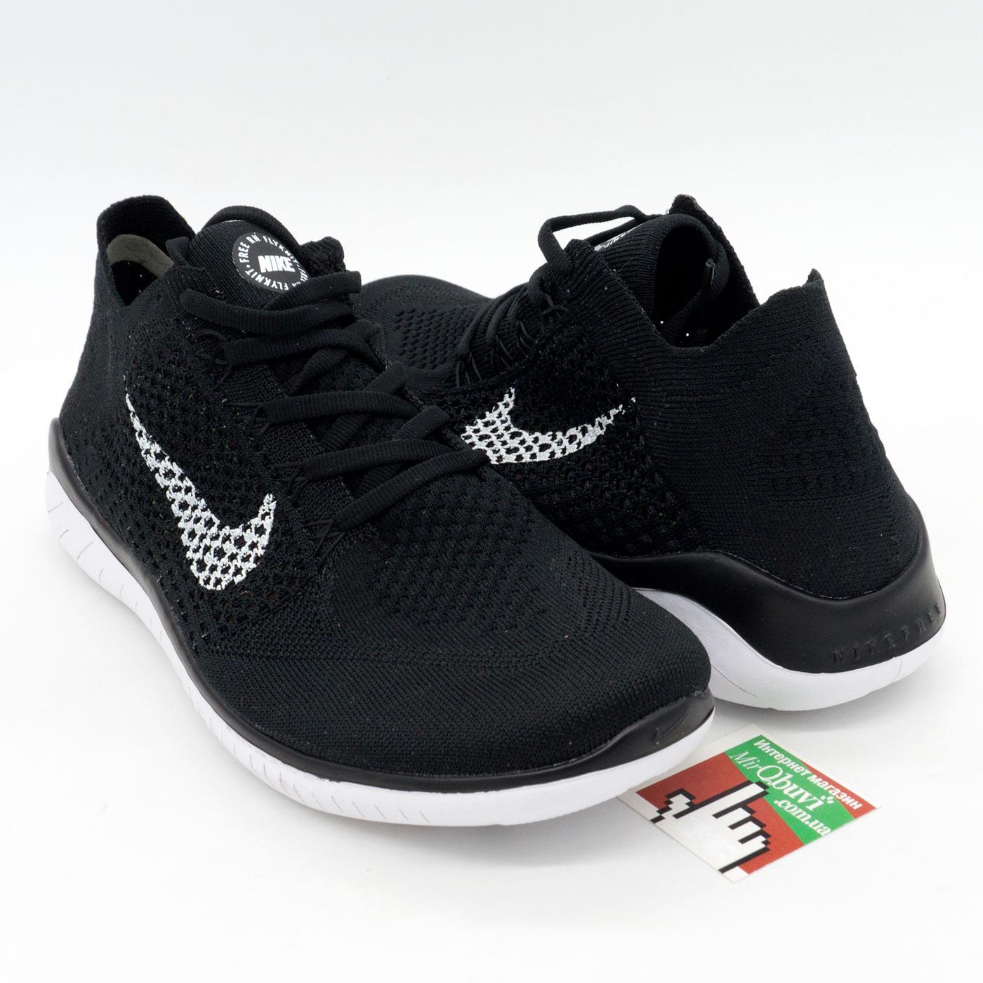 фото front Кроссовки для бега Nike Free Run Flyknit Найк Фри Ран, черно-белые front