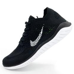 фото Кроссовки для бега Nike Free Run Flyknit Найк Фри Ран, черно-белые
