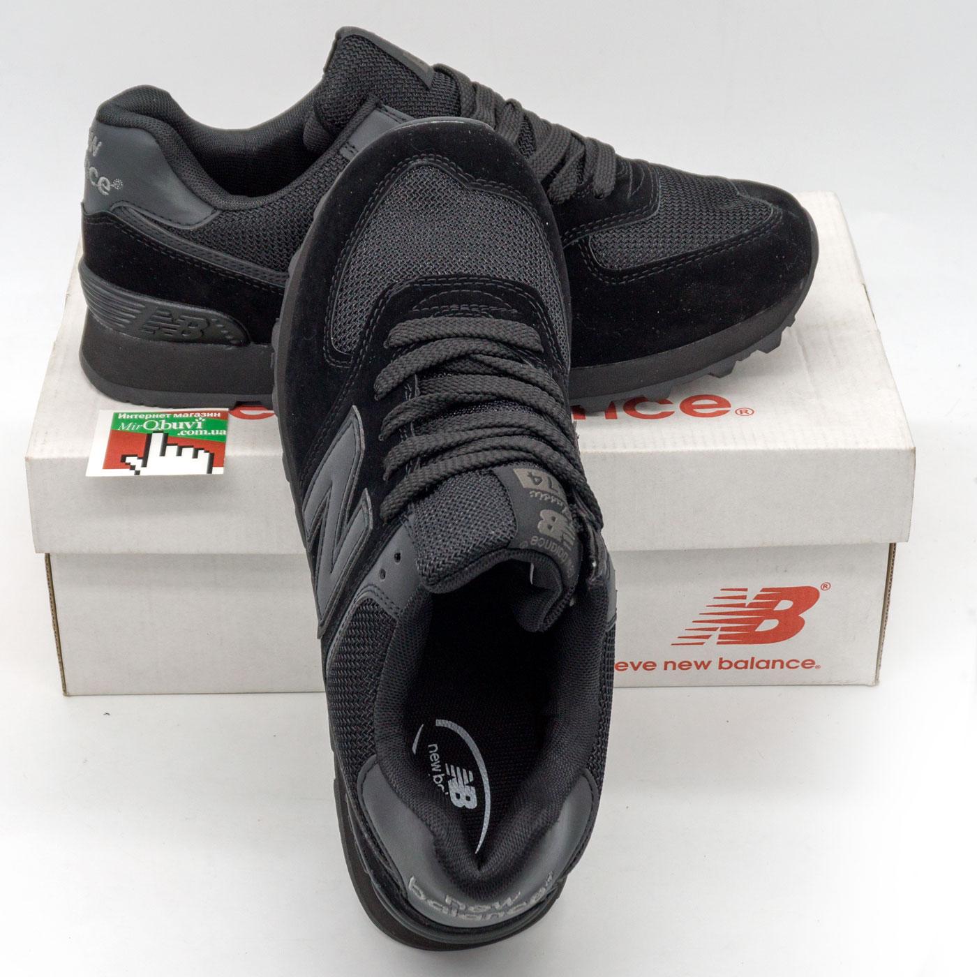 фото front Мужские кроссовки New Balance 574 полностью черные front