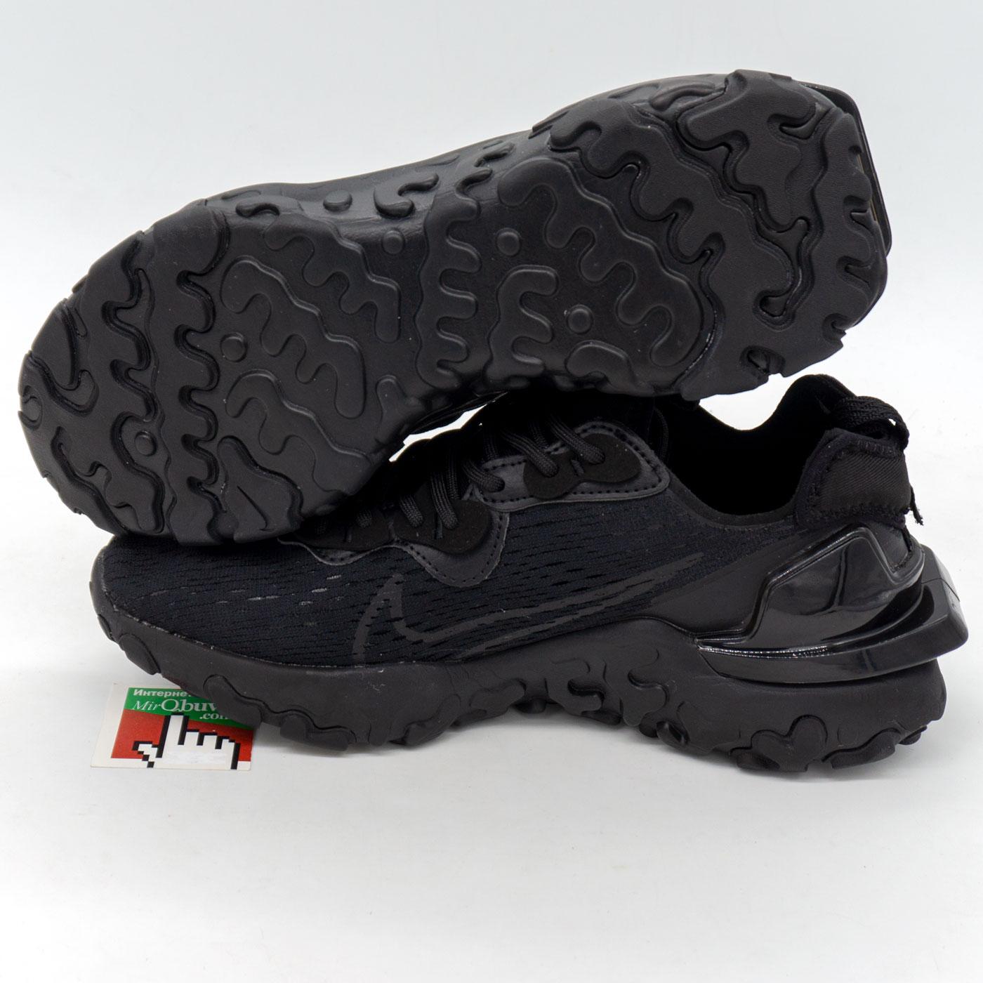 фото front Кроссовки Nike React Vision DimSix полностью черные. Топ качество! front