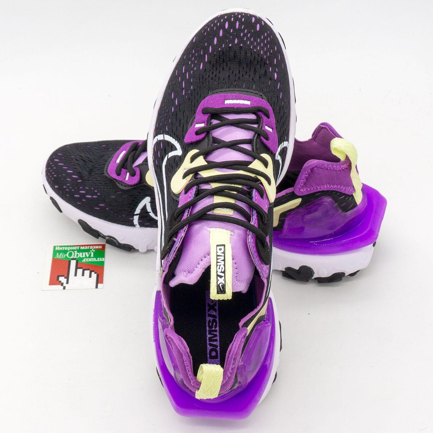 фото back Женские кроссовки Nike React Vision DimSix черные с фиолетовым. Топ качество! back