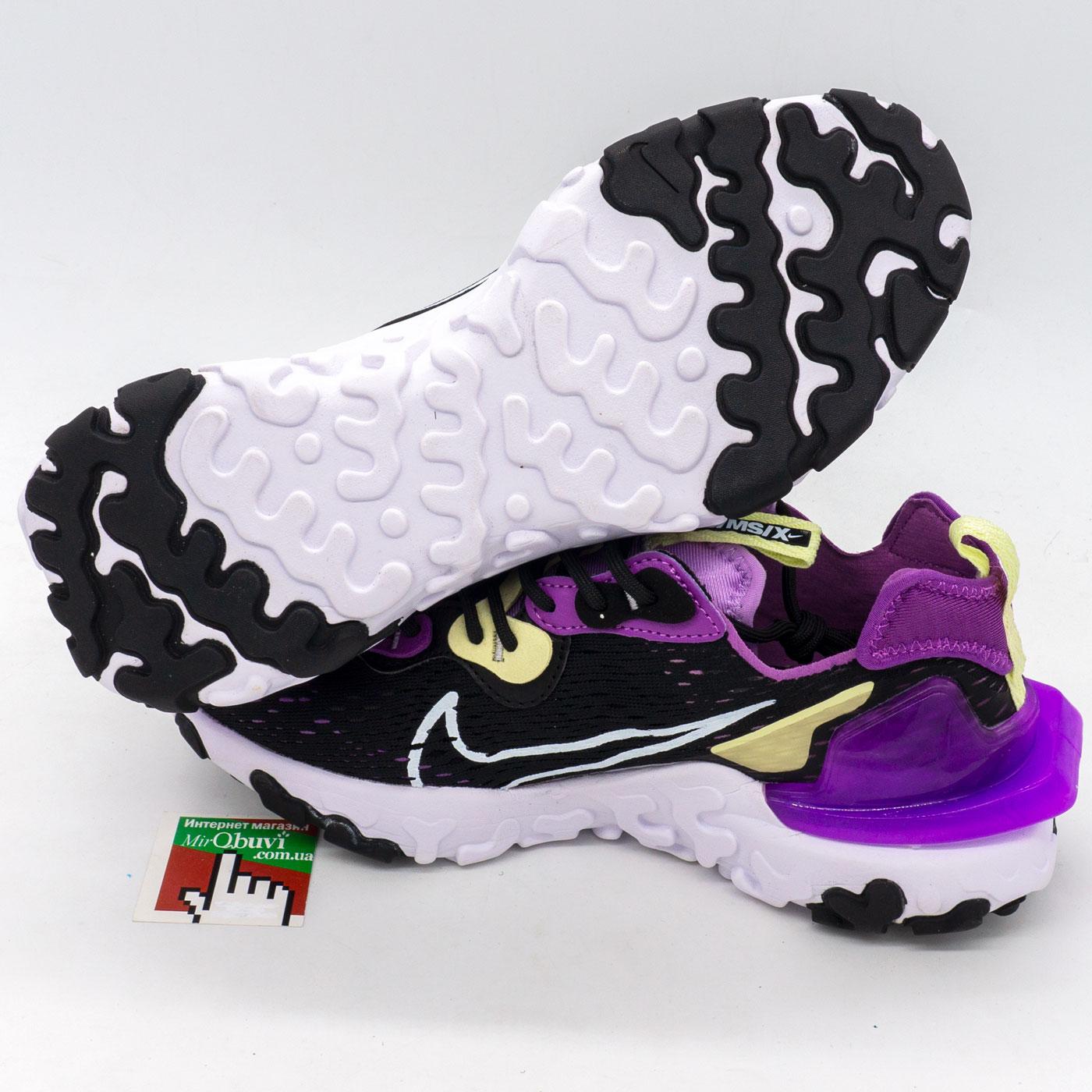 фото front Женские кроссовки Nike React Vision DimSix черные с фиолетовым. Топ качество! front