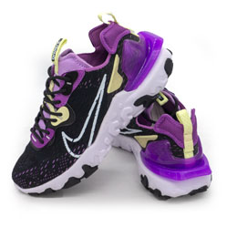 фото Женские кроссовки Nike React Vision DimSix черные с фиолетовым. Топ качество!