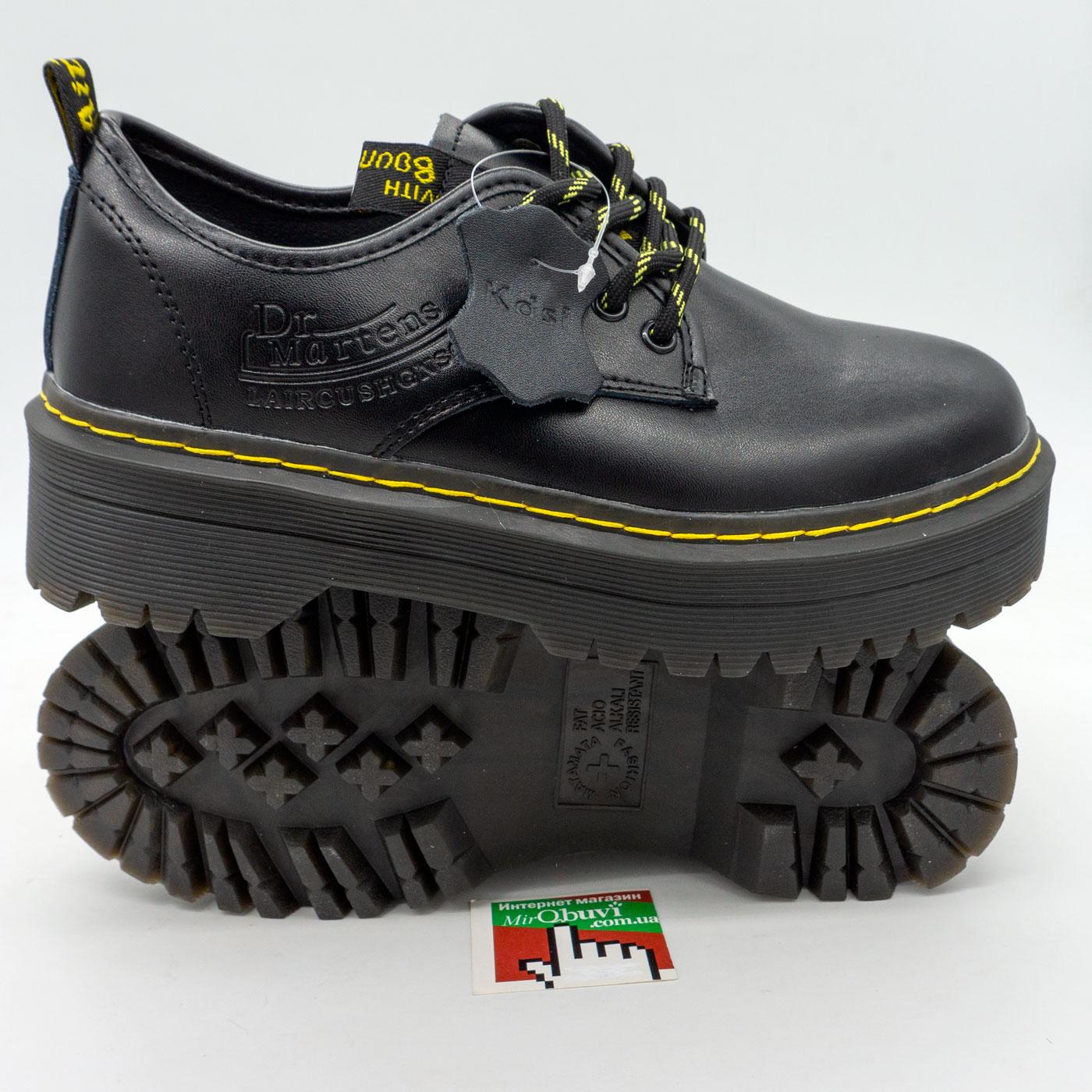 фото front Черные женские туфли Dr. Martens, натуральная кожа front