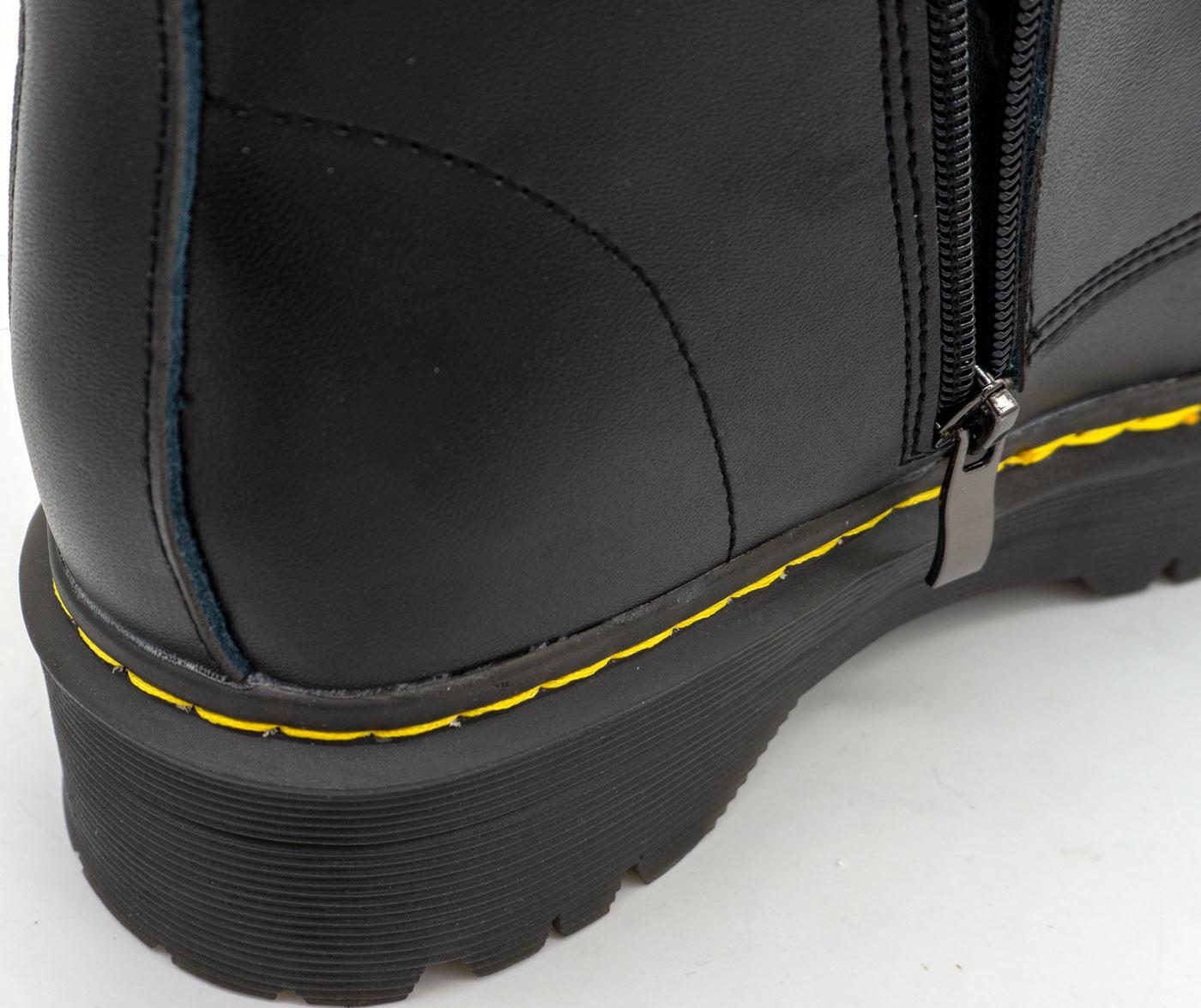 большое фото №6 Черные женские кожаные ботинки с мехом в стиле Dr. Martens