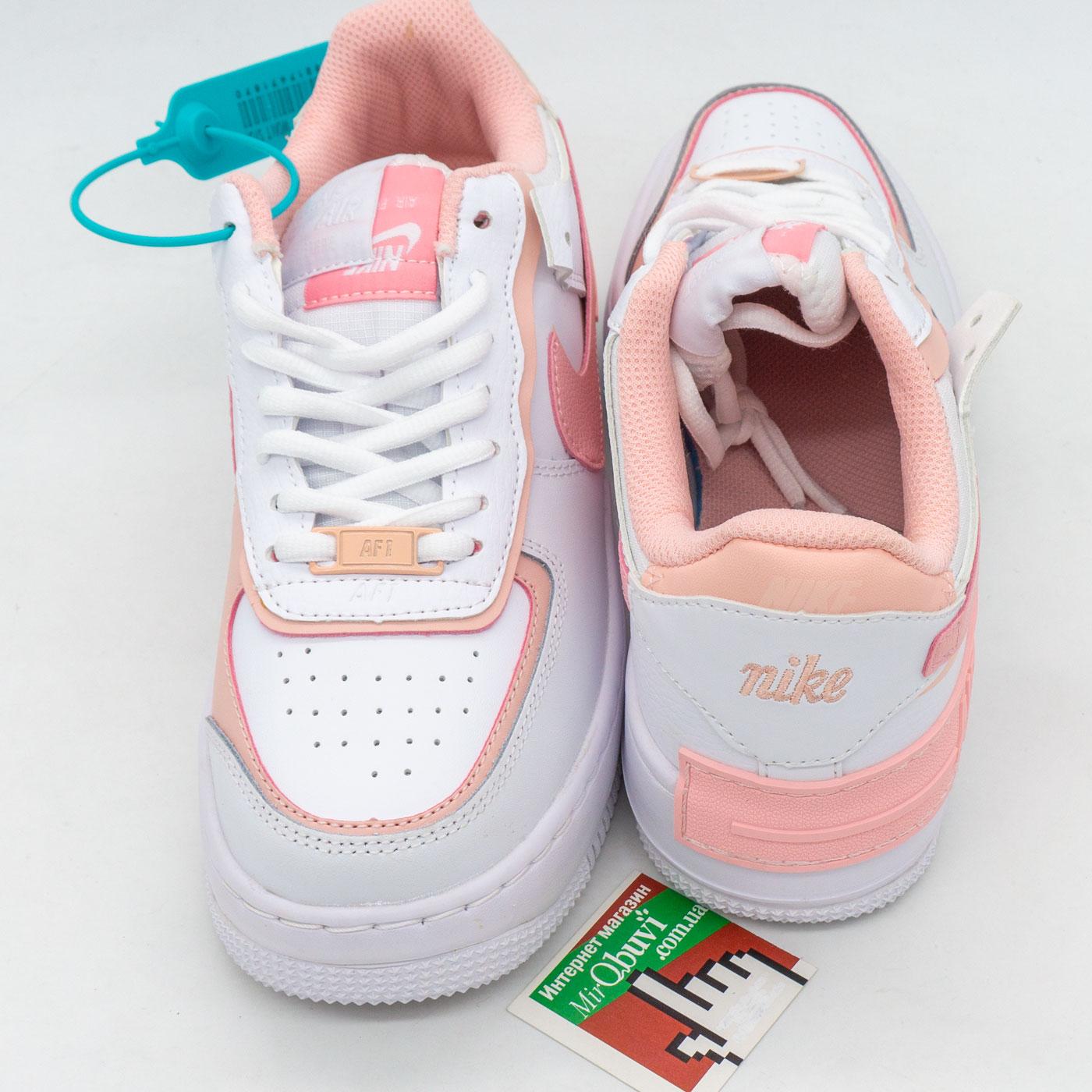 фото front Кроссовки Nike Air Force 1 Shadow бело-розовые - Топ качество front