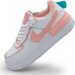 фото Кроссовки Nike Air Force 1 Shadow бело-розовые - Топ качество