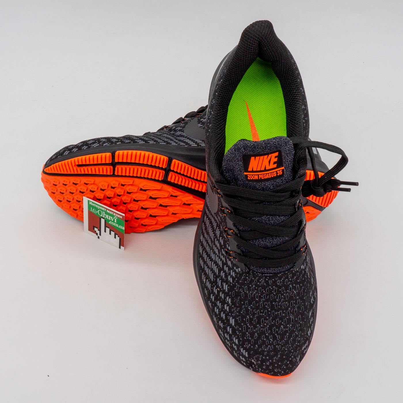 фото front Мужские кроссовки для бега Nike Zoom Pegasus 35 черные. Топ качество! front