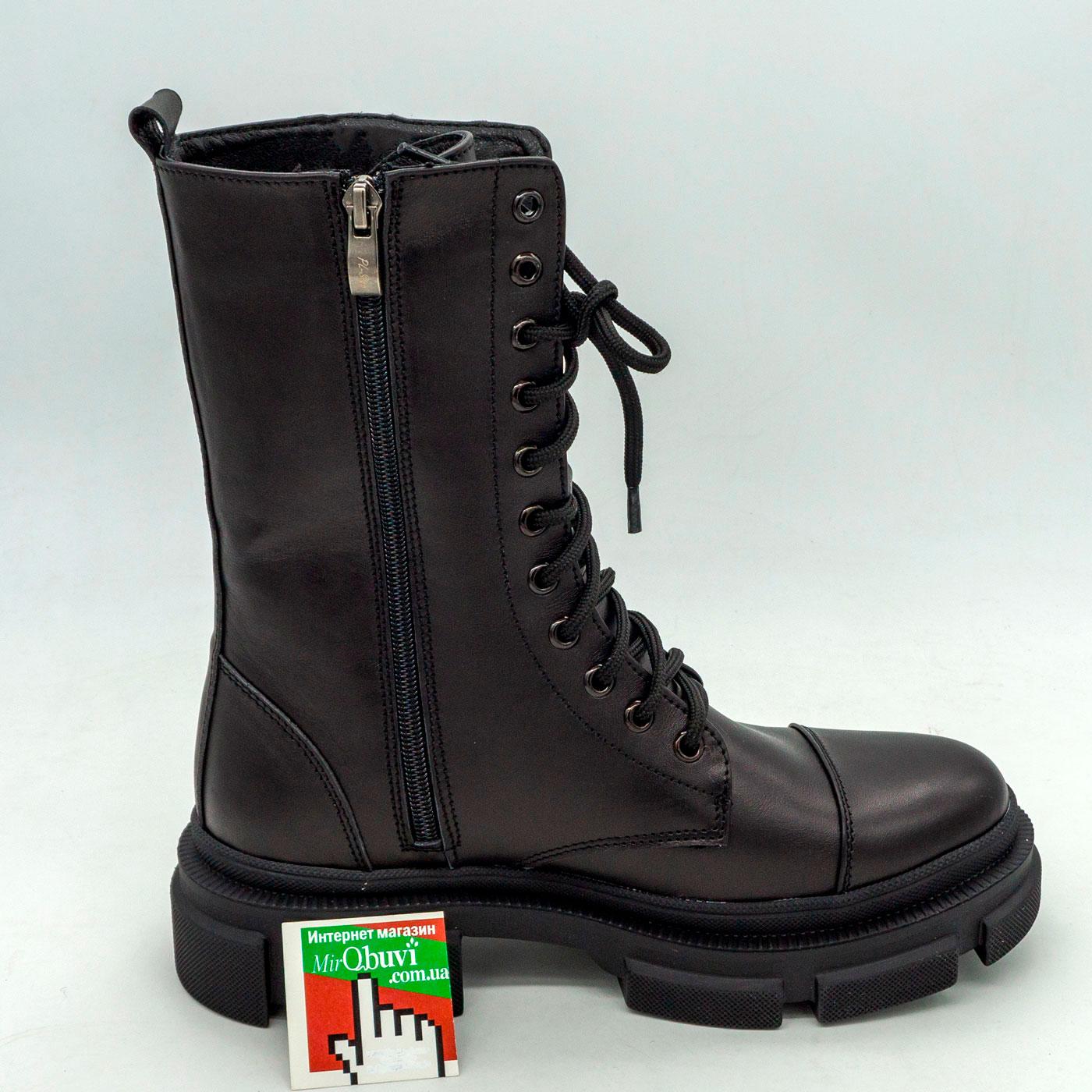 фото front Зимние черные женские ботинки в Dr. Martens на платформе - 0020 front