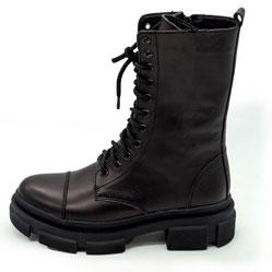фото Зимние черные женские ботинки в Dr. Martens на платформе - 0020