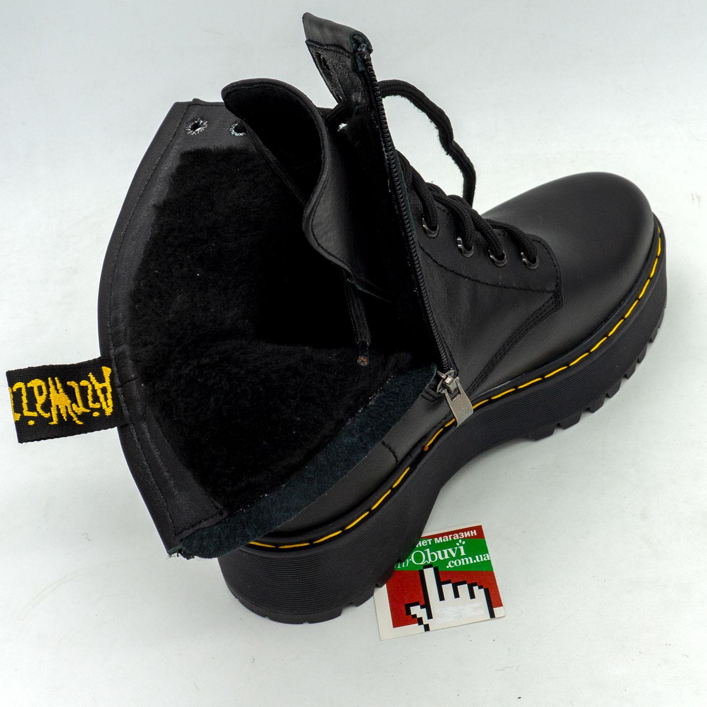фото back Зимние черные женские ботинки в Dr. Martens на платформе - 003 back