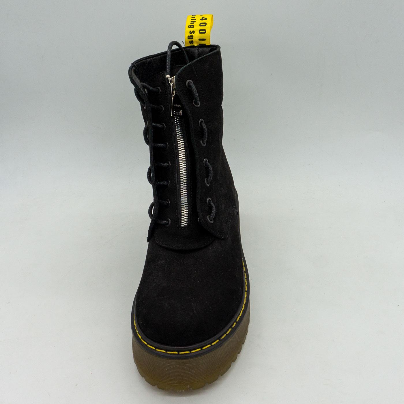 фото back Черные женские ботинки с мехом на платформе в стиле Dr. Martens  нубук back