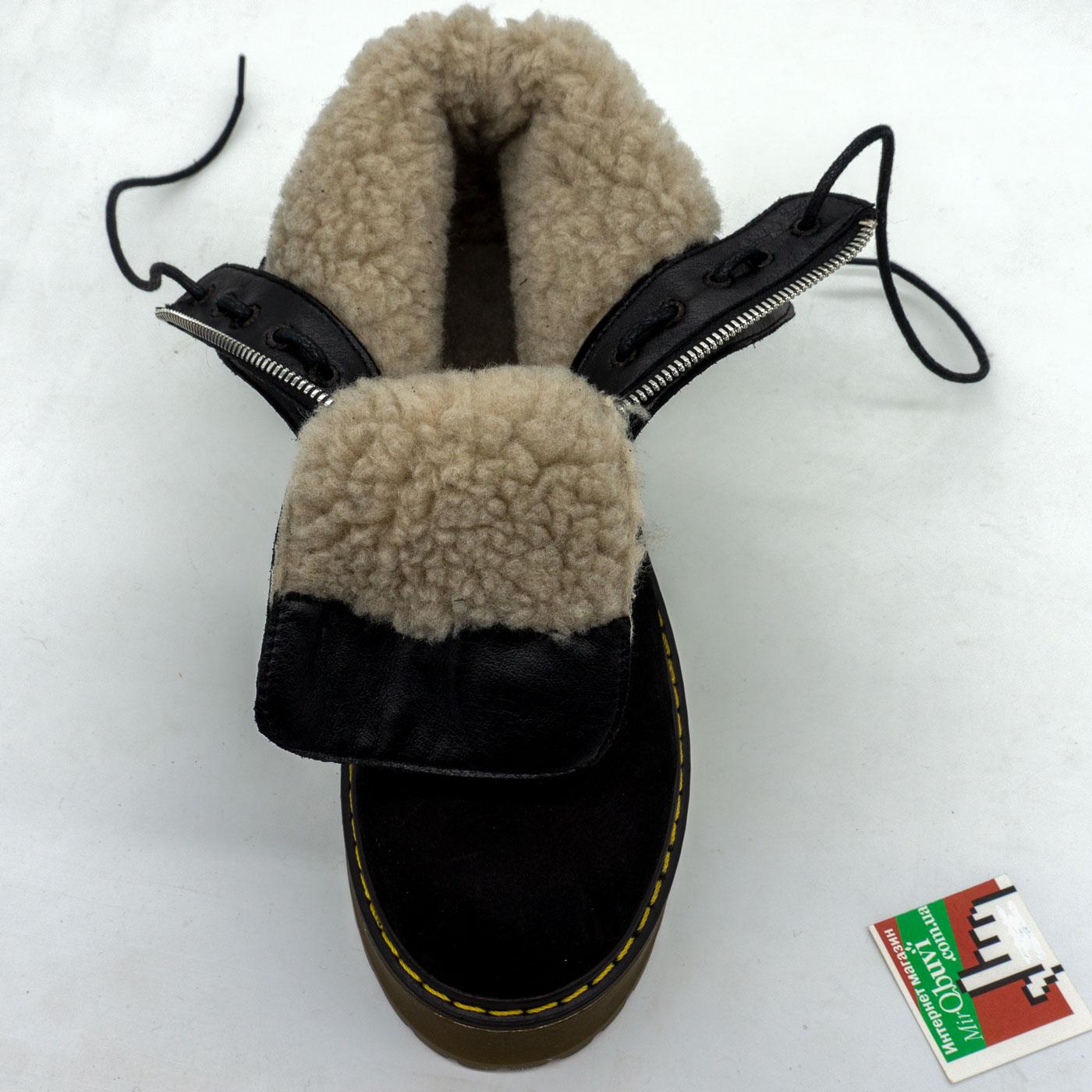 фото bottom Черные женские ботинки с мехом на платформе в стиле Dr. Martens  нубук bottom