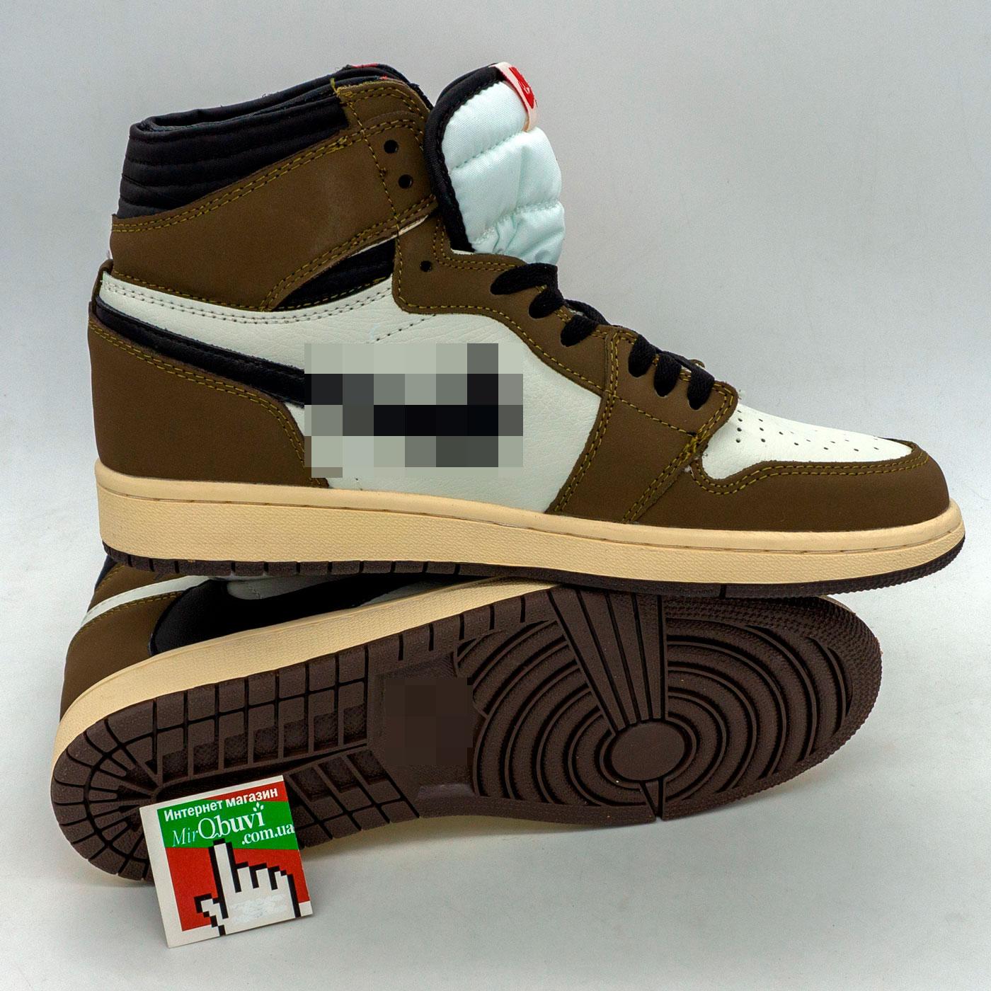 фото back Высокие черно белые хаки кроссовки Nke Air Jordan 1 High. Топ качество! back