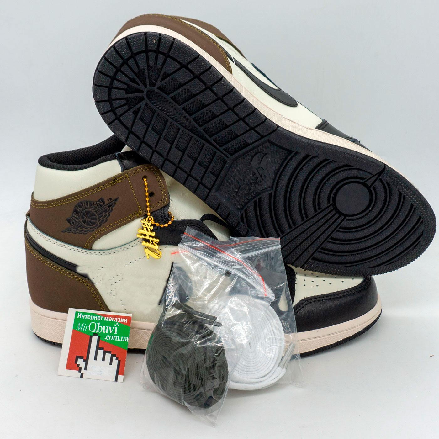 фото front Высокие черно белые хаки кроссовки Nke Air Jordan 1 High. Топ качество! front